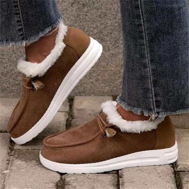 Women Boots Winter Warm Plush Cotton Velvet Snow Flat Heel Shoes