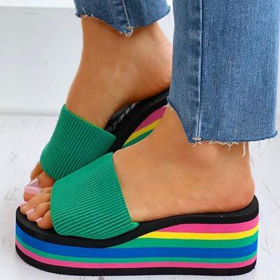 Knitting Rainbow Colorful Wedges High Heels Leisure Sandal Platform Shoes