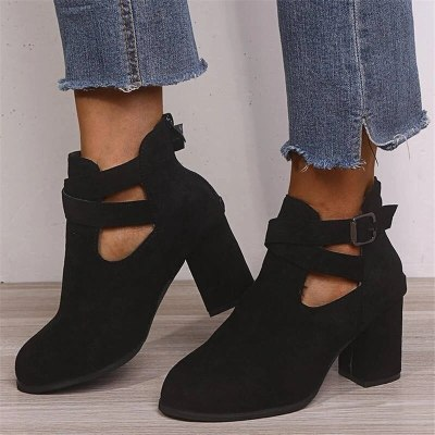 Women Ankle Boots Platform Mid Chunky Heel Round Toe Buckle Shoes
