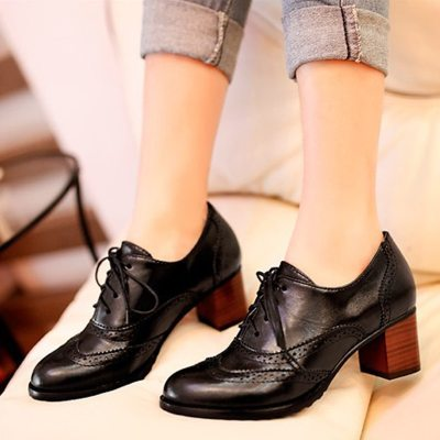 Women's Pump Shallow Vintage Chunky Heel Cut Out Fashion
