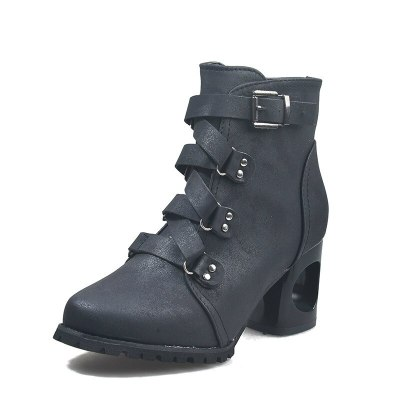 Winter  High Square Heel Buckle Strap Platform Rubber Sole Leather Fashion Shoes