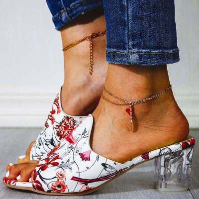 Flowers Printed Clear Heels  Lady Sandal Slippers Outside Women Shoes