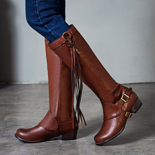 Heels Women Shoes Vintage Riding BOOT Winter Fringes Boots Female