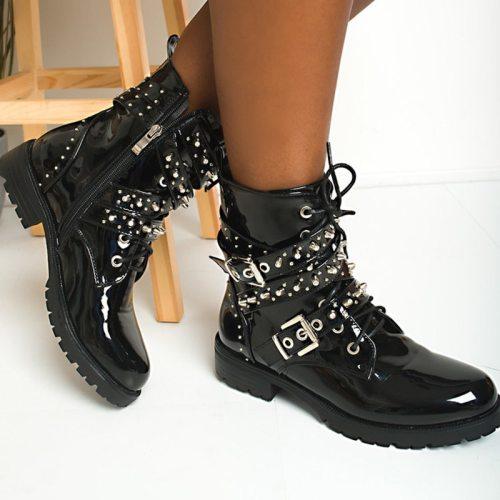 Women Boots Platform Square Heel Zip Round Toe Cool Shoes
