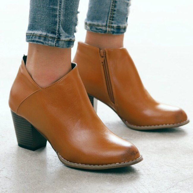 Ankle Boots Women Pu Leather Mid Square Heels Point Toe Zipper Shoes