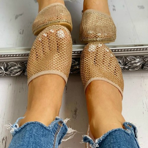 Women Mesh Low Strange Heels Solid Casual Outdoor Ladies Shoes