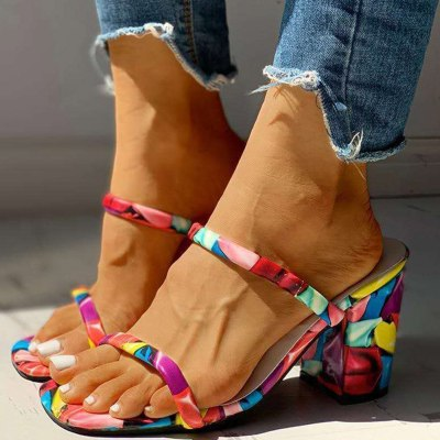 Block High Heels Printed Summer Slipper Sandals Woman Shoes Women