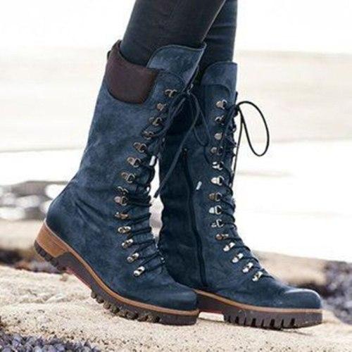 Winter Women Mid-calf Boots Platform Low Thick Heel Biker Shoes