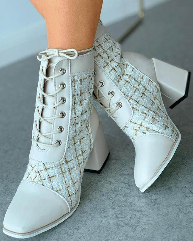 Fashion Patchwork Chunky Heel Square Heel Trend Female Shoes
