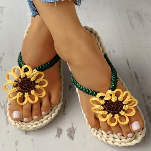 Women Slippers Flat Heel Slides Platform  Flower Casual Ladies Shoes