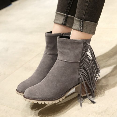 Fashion Vintage Fringes Chunky Heels  Boots Female Footwear
