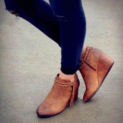 Trend Designer Women Ankle Tassel Boots Weaving Strap Fashion Shoes