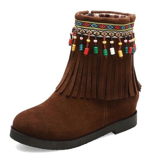 Ethnic Style Fringes Internal Increase Heels  Women Tassels Boots