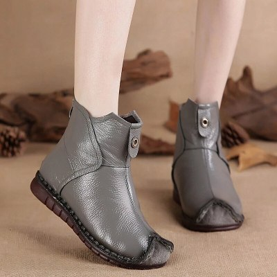 Women PU Leather Ankle Boots Flats Ladies Winter Shoes Female Fashion Sewing Retro