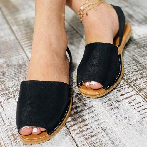 Summer Sandals Women Flats Female Casual Peep Toe Shoes PU