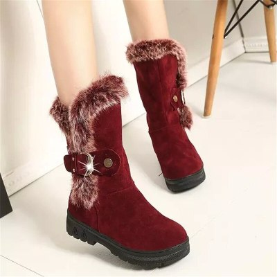 New Fashion Zipper Snow Boots Shoes Thigh High Suede  Mid-Calf Boots