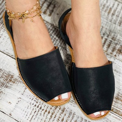 Summer Sandals Women Flats Female Casual Peep Toe Shoes PU