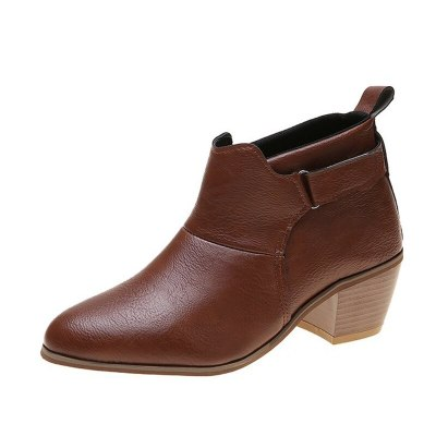 Ankle Boots Woman Pointed Toe Shoes Ladies High Chunky Heels Buckle Casual Retro Footwear