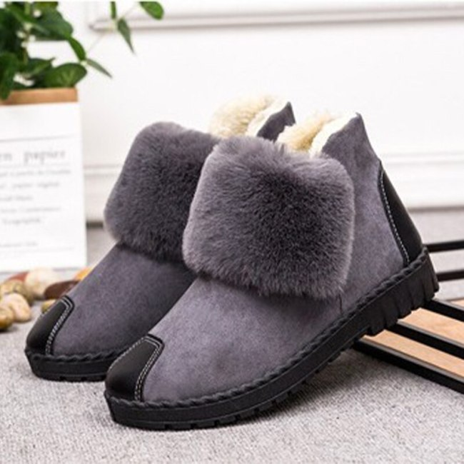 Women Snow Boots Shoes Ladies Plush Warm Casual Flats Fashion Ankle Boots Footwear