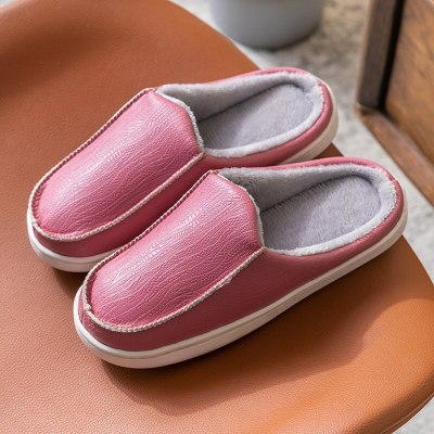 Women Slippers Warm Indoor Ladies Fashion Shoes Home Shoe PU Leather Casual Flats Female