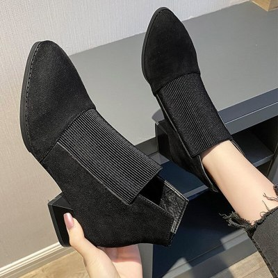 Women Ankle Boots Ladies slip on Elegant Shoes Chunky Heels Female Casual Boots
