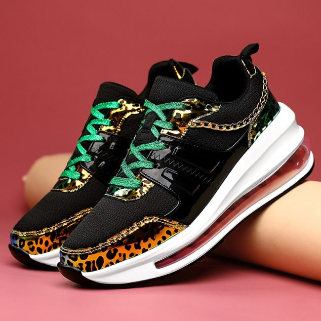 Women Shoes Walking Sport Sneakers Wedge Shoes Leopard Shoes Female
