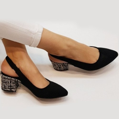 Women High heels Shoes Square Ladies Round Toe Square Heel Shoes
