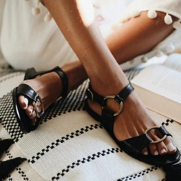 Sandals Fashion Buckle Solid Women Shoes Flats Casual Ladies Plus Size Sandals