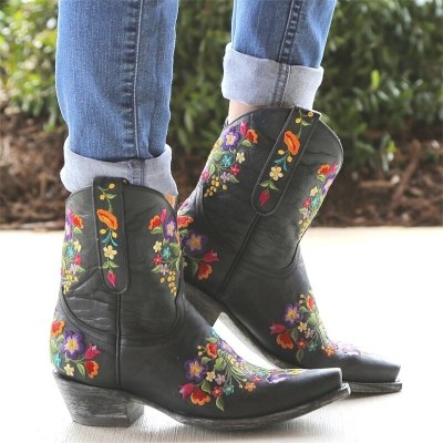 Cowboy Ankle Boots Mid-Calf Wedge Mid Heels Vintage Retro Casual Women Boots