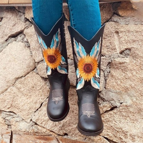 Woman Mild-Calf Boots Leather Boots Female Flat Platform Cowboy Boots