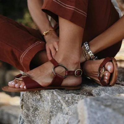 Sandals Fashion Buckle Solid Women Shoes Flats Casual Ladies Plus Size Sandals