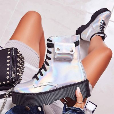 Women Ankle Boots with Bag new lace up Round Toe Boots fashion Flat Boots