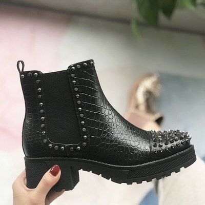 Women Boots new Square Heels Fashion Slip On Ankle Boots Women Boots