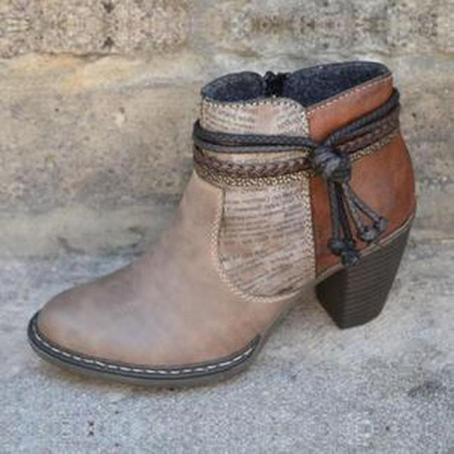 Women's Ankles Boots Buckle Round Toe Heel Ladies Short Boots Outdoor Casual