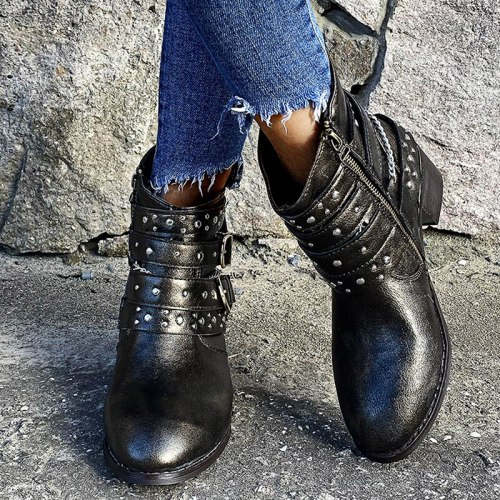Women's Boots Casual Boots Ankle Women Shoes Low Heels Solid Boots Women Shoes