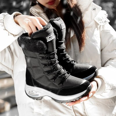 Women Snow Boots Warm Mid-Calf Snow Lace-up Female Casual Snow Boots