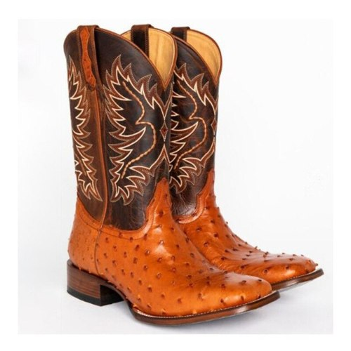 woman Mid-calf Boots Leather Cowboy Boots Vintage Casual Shoes Boot