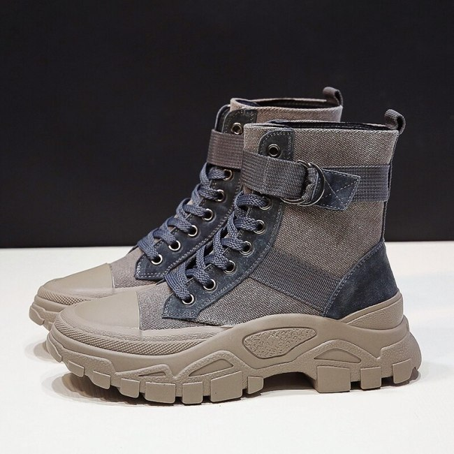 Women Ankle Boots Canvas Shoes female Round toe boots woman riding boots