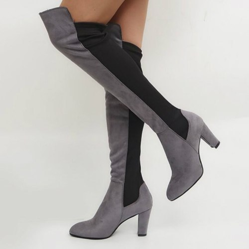 Sexy Women's Boots Flock High Heel Warm Fashion Ladies Shoes Female