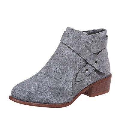 Retro Women Boots Ankle Chunky Heel Retro Casual Shoes Ladies Female