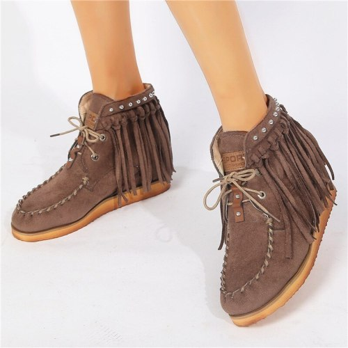 Tassel Boots Women Platform Heel Footwear Casual Retro Shoes Ladies