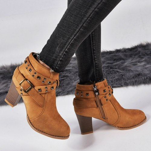 Trend Fashion Women Ankle Boots Heel Shoes Female Ladies