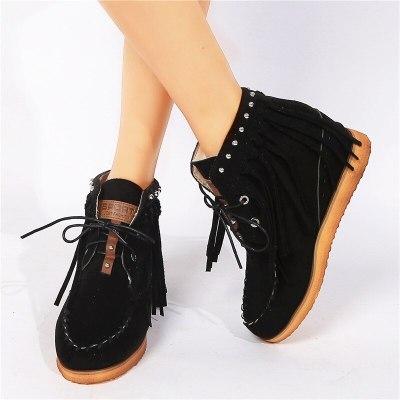 Tassel Boots Women Platform Heel Footwear Casual Retro Shoes Ladies