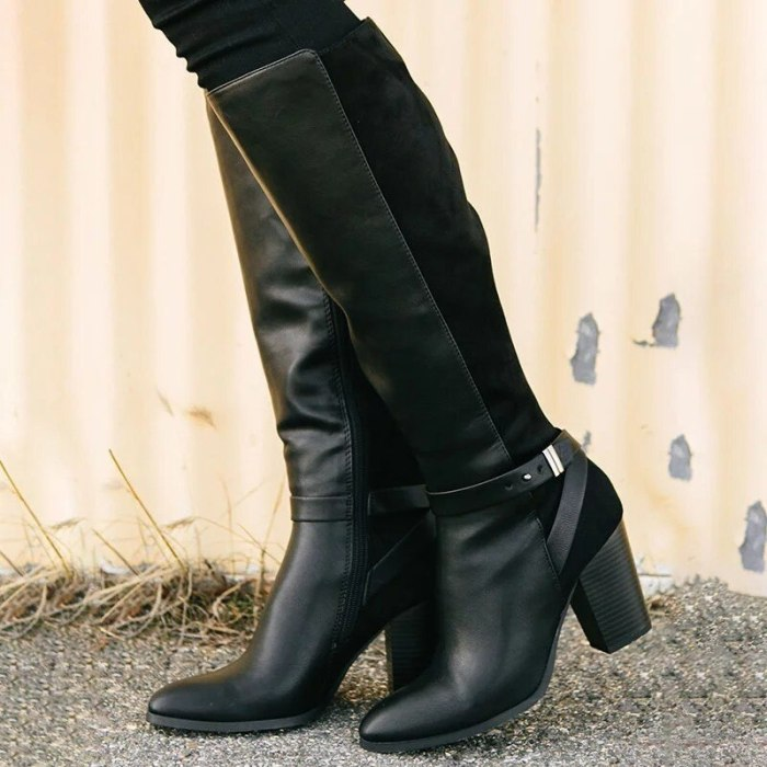 Women Mid-calf Boots Pu Leather High Heels Fashion Cool Ladies Shoes