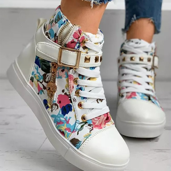 Fashion Women Ankle Boots Flat Low Heel Print Casual Punk Shoes
