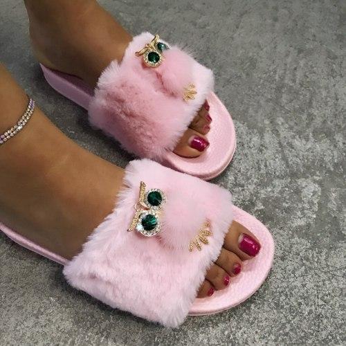 Women's Slipper Flats Open Toe Shoe Light Casual Cotton Slippers