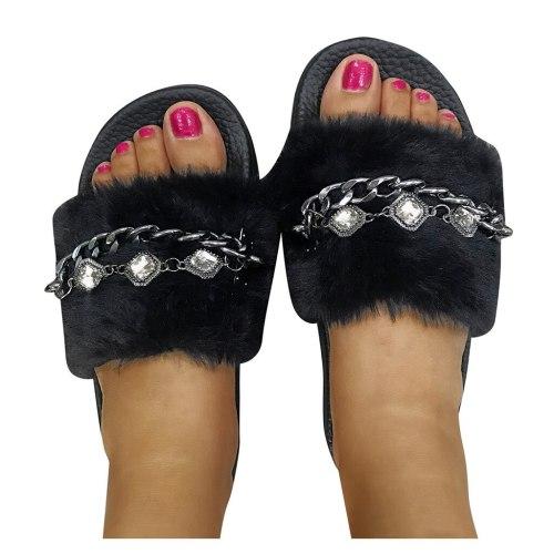 Women's Winter Slippers Flats Open Toe Shoe Casual Sandal With Faux Fur Slippers