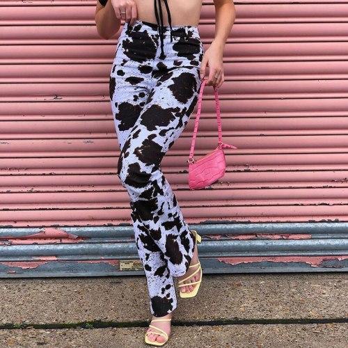 Tie Dye Print Fashion High Waist Pants Streetwear Women Trousers Casual Pants