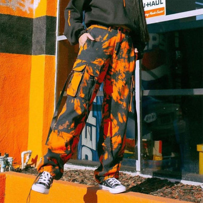Fashion Pants Women Streetwear High Waist Patchwork Trousers Pants