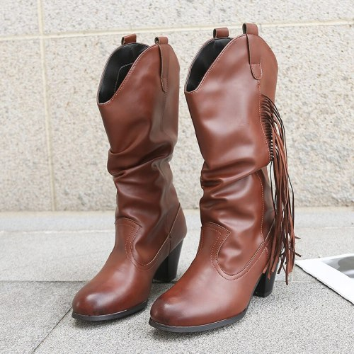 Women Mid Calf Boots Ladies Mid Heels Female Design Leather Shoes